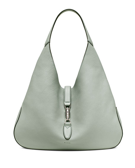 Gucci Jackie Soft Leather Hobo Bag, Light Blue