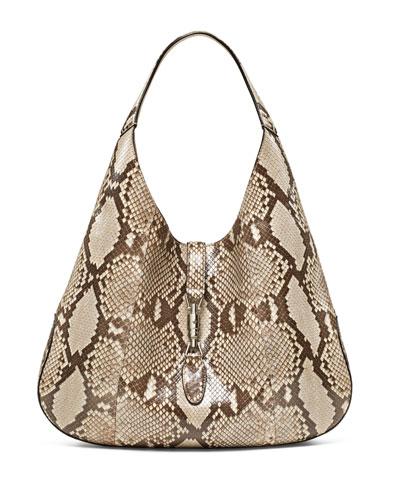 Gucci Jackie Soft Python Hobo Bag, Tan Multi