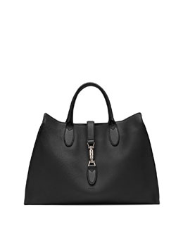 Gucci Jackie Soft Leather Top Handle Bag, Black