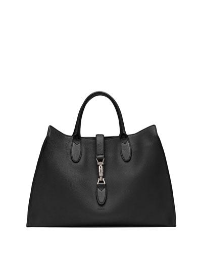 Gucci Jackie Soft Leather Top Handle Bag, Black
