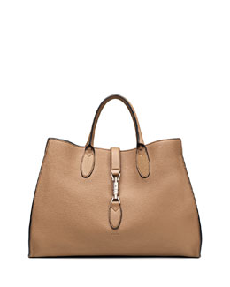 Gucci Jackie Soft Leather Top Handle Bag, Camel