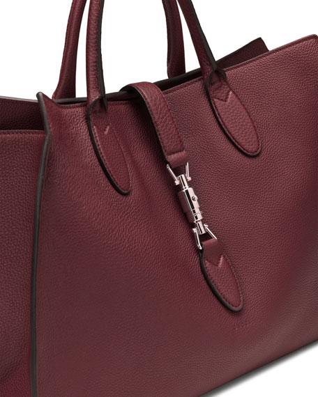 Jackie Soft Leather Top Handle Bag, Bordeaux