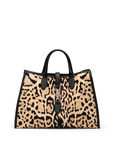 Gucci Jackie Soft Leopard-Print Calf Hair Top Handle Bag