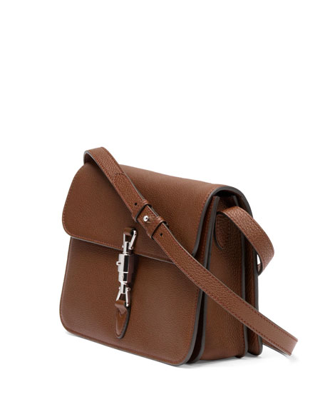 Gucci Jackie Soft Leather Flap Shoulder Bag, Luggage Brown