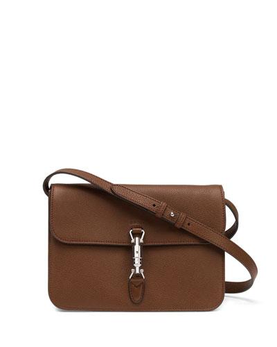 Gucci Jackie Soft Leather Flap Shoulder Bag, Luggage Brown