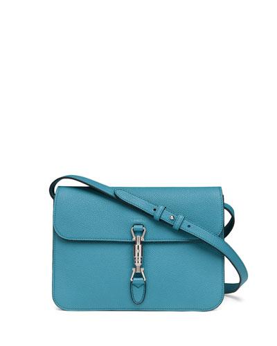 Gucci Jackie Soft Leather Flap Shoulder Bag, Cobalt