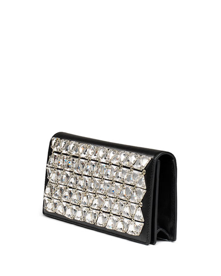 Broadway Beaded Leather Clutch Bag, Black/Silver