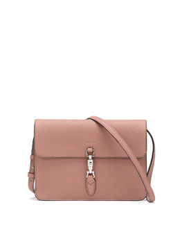 Gucci Jackie Soft Leather Convertible Wallet, Blush