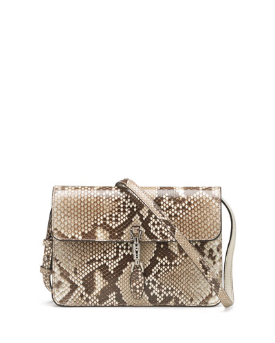 Gucci Jackie Soft Python Convertible Wallet, Tan Multi