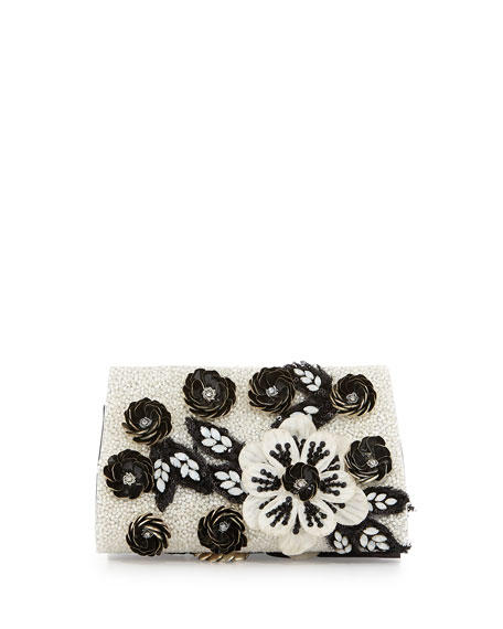 Carole Beaded Applique Clutch Bag
