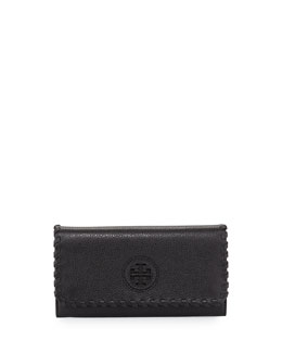 Tory Burch Marion Whipstitch Continental Flap Wallet, Black
