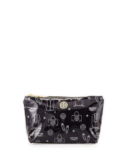 Tory Burch Slouchy Print Coated Cosmetic Case, Tory Navy