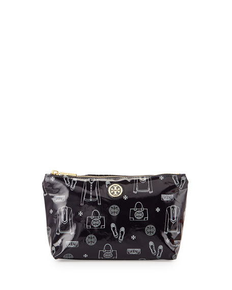 Slouchy Print Coated Cosmetic Case, Tory Navy
