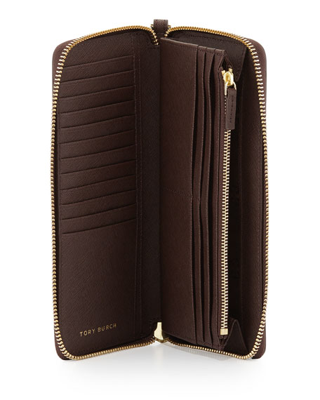 York Continental Zip Wallet, Dark Walnut