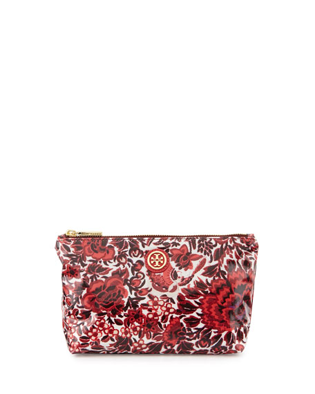Floral Small Slouchy Cosmetic Bag, Kyoto Red