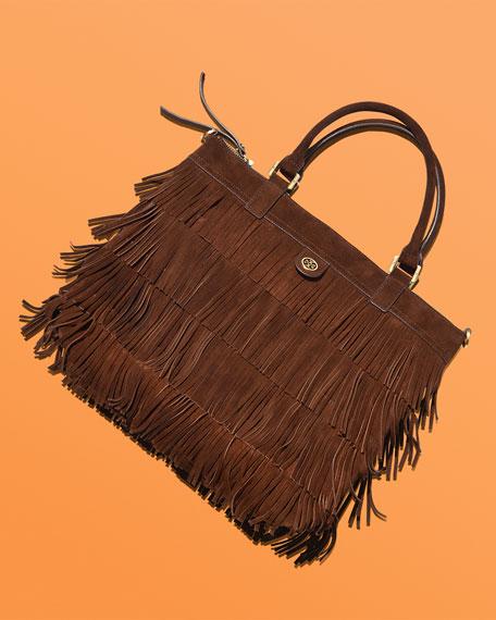 Leather Fringe Tote Bag, Chocolate