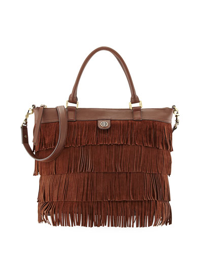 Tory Burch Leather Fringe Tote Bag, Chocolate