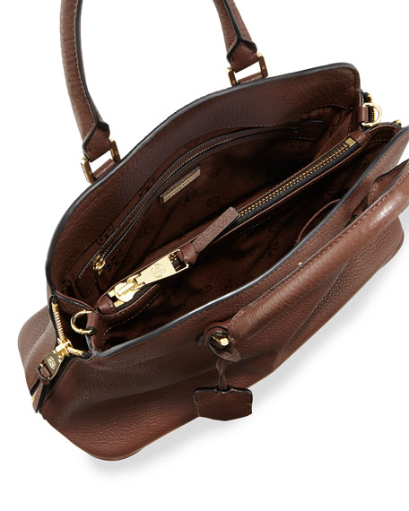 Robinson Pebbled Open Dome Satchel Bag, Dark Walnut