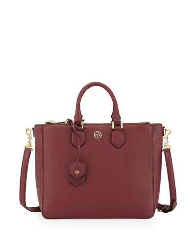 Tory Burch Robinson Pebbled Square Tote Bag, Deep Berry