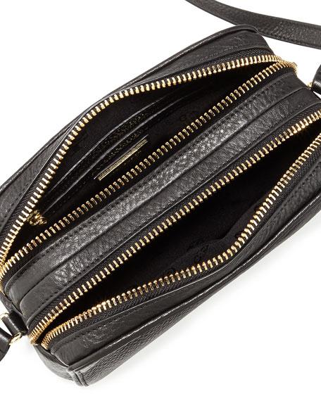 Robinson Double-Zip Shrunken Leather Crossbody Bag, Black