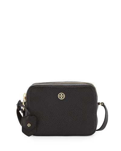 Video: Robinson Double-Zip Shrunken Leather Crossbody Bag, Black