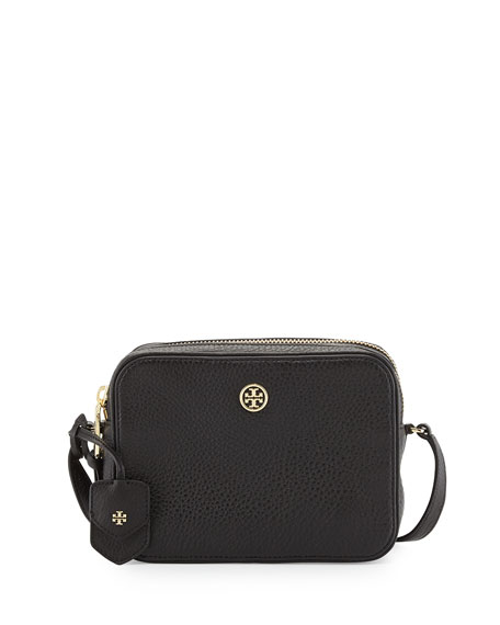 Image 1 of 2: Robinson Double-Zip Shrunken Leather Crossbody Bag, Black