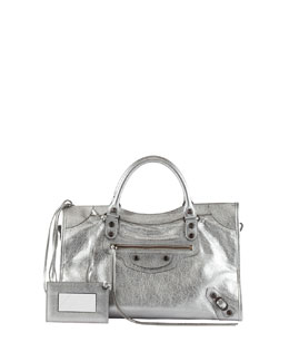 Balenciaga Classic Metallic City Bag, Silver