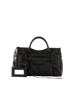Balenciaga Classic Nylon City Bag, Black