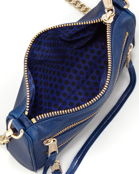 Five-Zip Mini Crossbody Bag, Navy