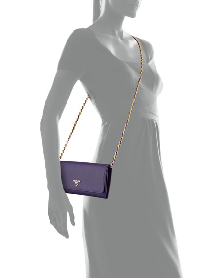 Saffiano Wallet on Chain, Violet (Viola)