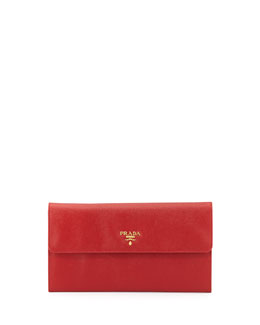 Prada Saffiano Flap Travel Wallet, Red (Fuoco)