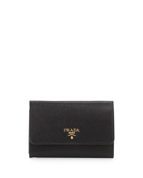 Prada Saffiano Metal Oro Wristlet Wallet, Black (Nero)