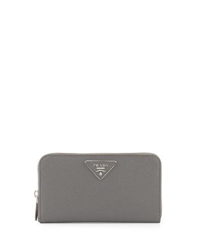 Prada Saffiano Triangle Zip-Around Wallet, Gray (Marmo)