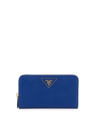 Prada Saffiano Triangle Zip-Around Wallet, Blue (Royal)