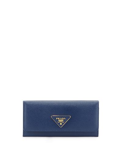 Prada Saffiano Triangle Continental Flap Wallet, Blue (Bluette)