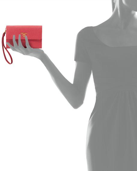 Saffiano Phone Wallet, Fuchsia (Peonia)