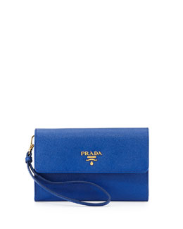 Prada Saffiano Phone Wallet, Royal Blue (Royal)