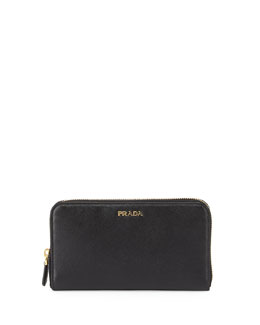 Prada Saffiano Double Bicolor Wallet, Black/Red (Nero+Fuoco)