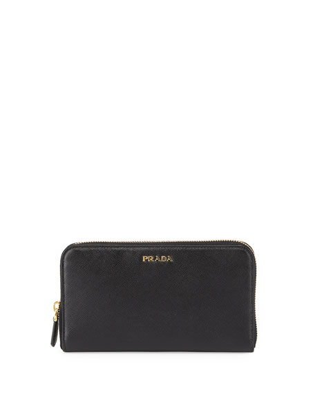 Saffiano Double Bicolor Wallet, Black/Red (Nero+Fuoco)
