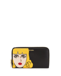 Prada Napa Pop Girl Zip Around Wallet, Black (Nero)
