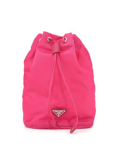 Prada Vela Drawstring Pouch, Pink (Fuxia)