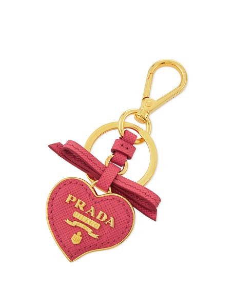 Prada Saffiano Leather Heart Keychain, Pink (Peonia)