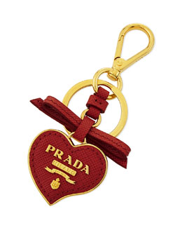 Prada Saffiano Leather Heart Key Chain, Red Fuoco