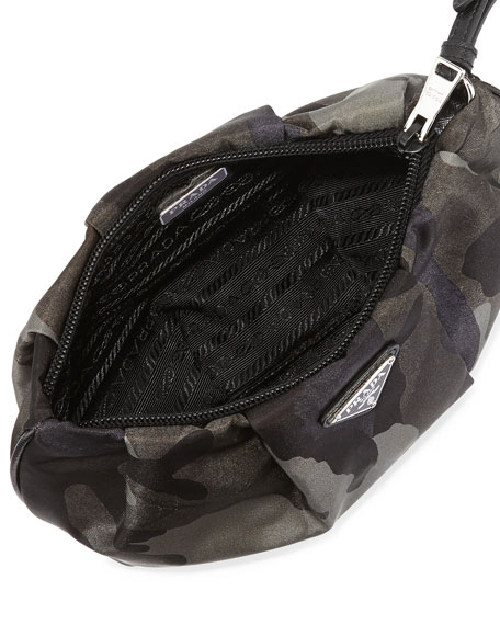 Prada Tessuto Camouflage Wristlet Bag, Gray Multi (Fumo)