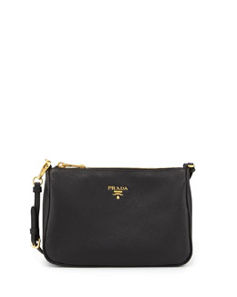 Prada Vitello Grain Small Shoulder Bag, Black (Nero)