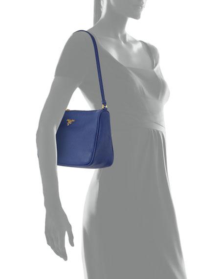 Vitello Grain Small Shoulder Bag, Ink Blue (Inchiostro)
