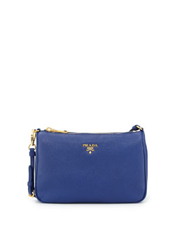 Prada Vitello Grain Small Shoulder Bag, Ink Blue (Inchiostro)
