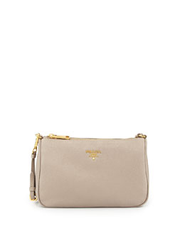Prada Vitello Grain Small Shoulder Bag, Light Gray (Pomice)