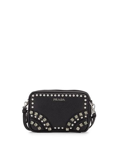 Prada Saffiano Crystal Crossbody Bag, Black (Nero)