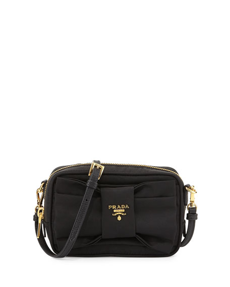 Tessuto Small Bow Crossbody Bag, Black (Nero)